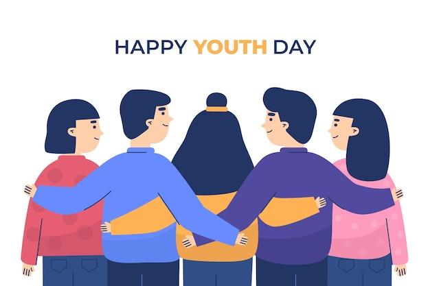 Ilustración de personas celebrando el día de la juventud