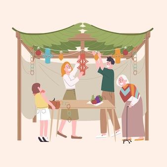 Ilustración de personas celebrando sucot.