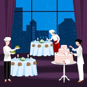 Ilustración de personas cocina plana