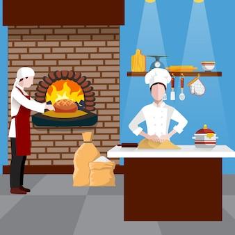 Ilustración de personas cocinando