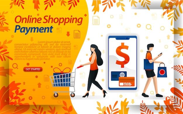Ilustración de personas comprando y pagando en línea rápidamente.