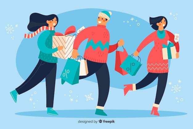 Ilustración personas comprando regalos de navidad