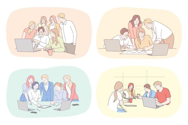 Ilustración de personas cooworking.