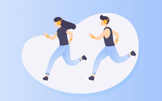 Ilustración de personas corriendo