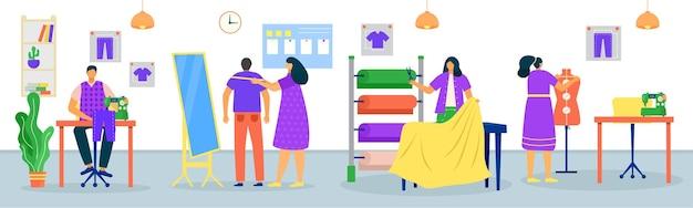 Ilustración de personas cosiendo ropa en sastrería