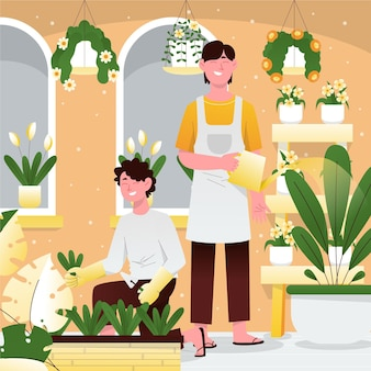 Ilustración de personas cuidando plantas. vector gratuito