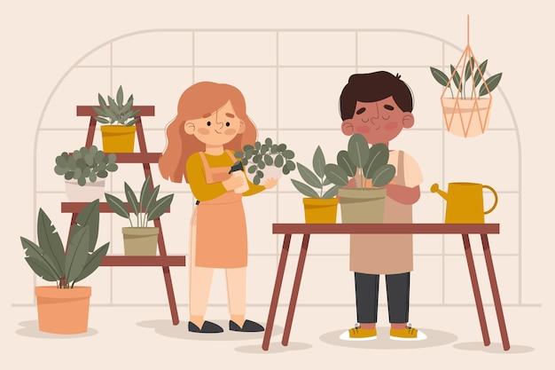 Ilustración de personas cuidando plantas.
