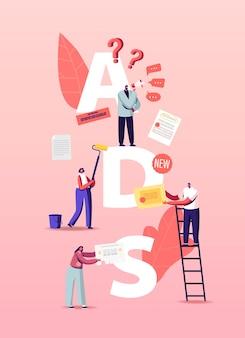 Ilustración de personas dando y leyendo anuncios