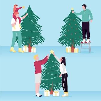 Ilustración de personas decorando el árbol de navidad