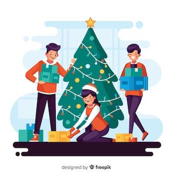 Ilustración de personas decorando un árbol de navidad