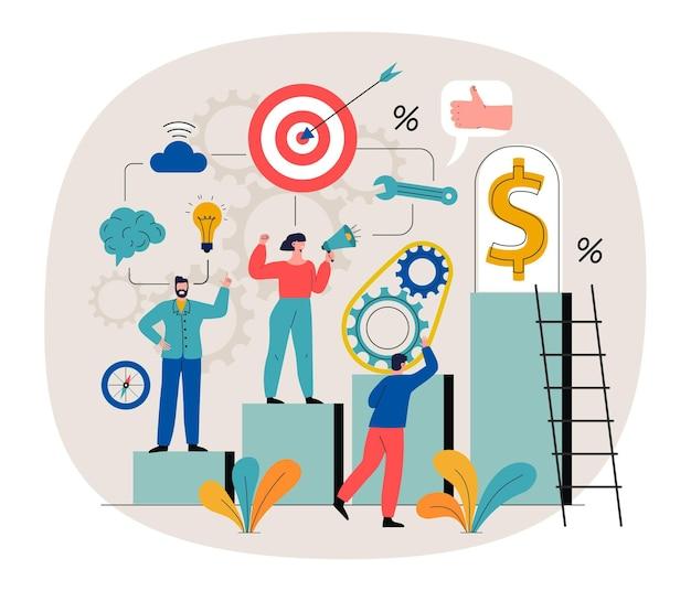 Ilustración con personas y diferentes objetivos para lograr lo esencial.