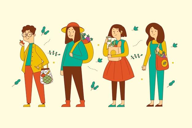 Ilustración de personas de estilo de vida verde