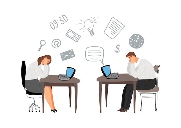 Ilustración de personas con exceso de trabajo. gerentes cansados