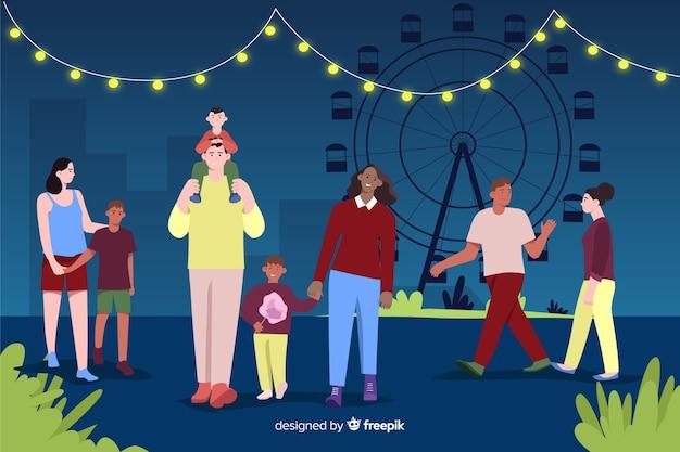 Ilustración de personas en una feria de noches.