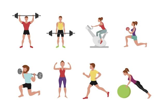 Ilustración de personas de fitness.