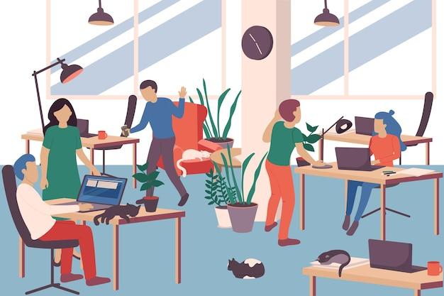 Ilustración de personas y gatos en el trabajo.