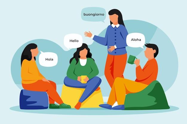 Ilustración de personas hablando en diferentes idiomas
