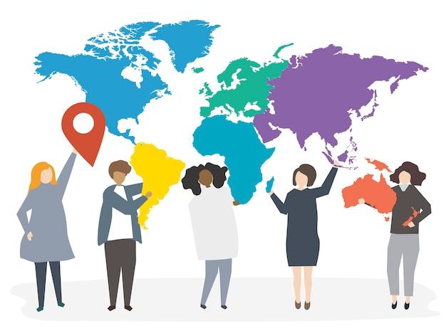 Ilustración de personas internacionales diversas.