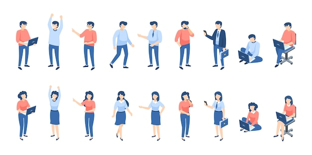 Ilustración de personas isométricas