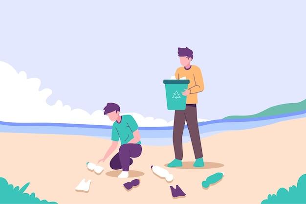 Ilustración de personas limpiando playa