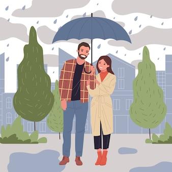 Ilustración de personas en lluvia