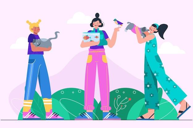 Ilustración de personas con mascotas.