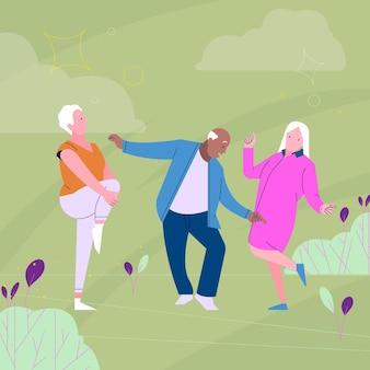 Ilustración de personas mayores activas