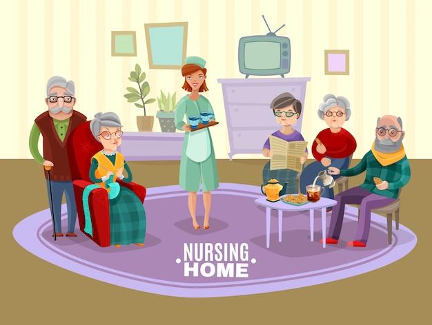 Ilustración de personas mayores de enfermería