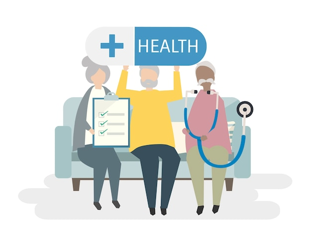 Ilustración de personas mayores con seguro de vida.