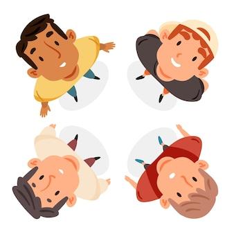 Ilustración de personas mirando hacia arriba
