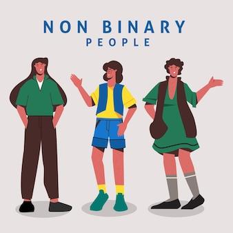 Ilustración de personas no binarias planas orgánicas