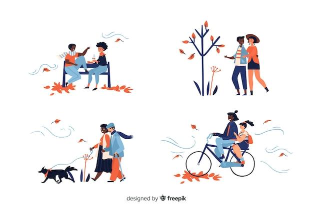 Ilustración de personas en el parque otoño