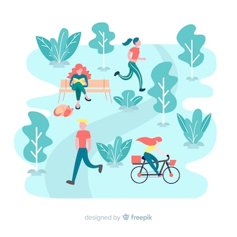 Ilustración de personas en el parque