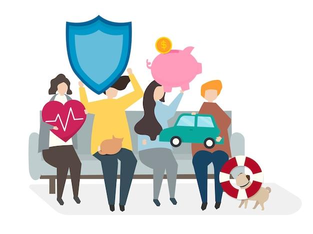 Ilustración de personas con pólizas de seguro.
