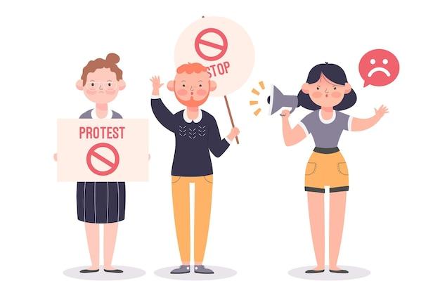 Ilustración de personas protestando pacíficamente