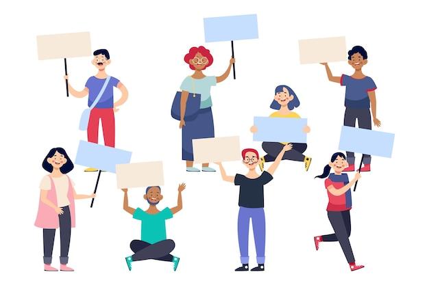 Ilustración de personas protestando