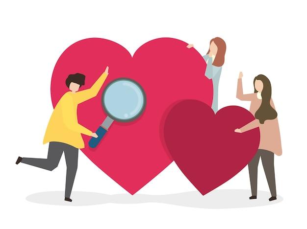 Ilustración de personas que buscan amor