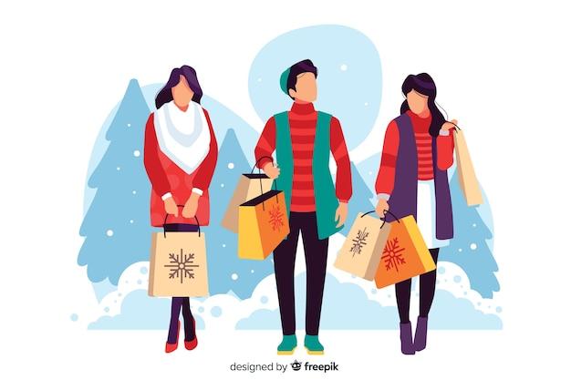 Ilustración de personas que compran regalos de navidad