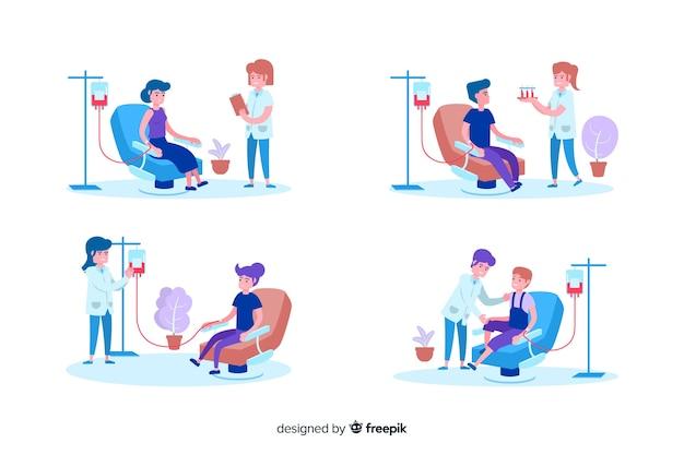 Ilustración de personas que donan sangre