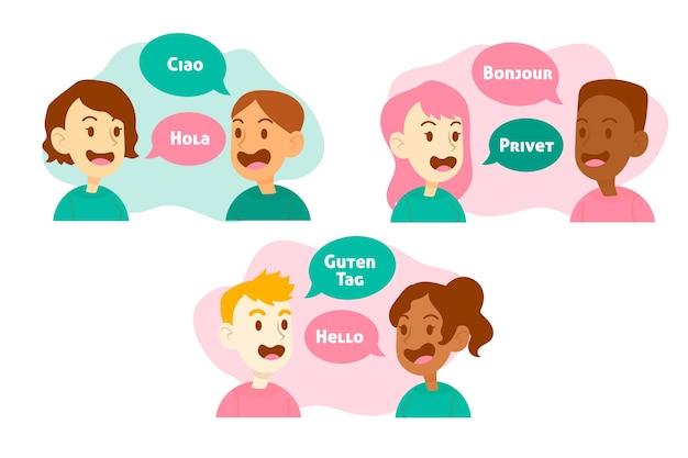 Ilustración con personas que hablan diferentes idiomas