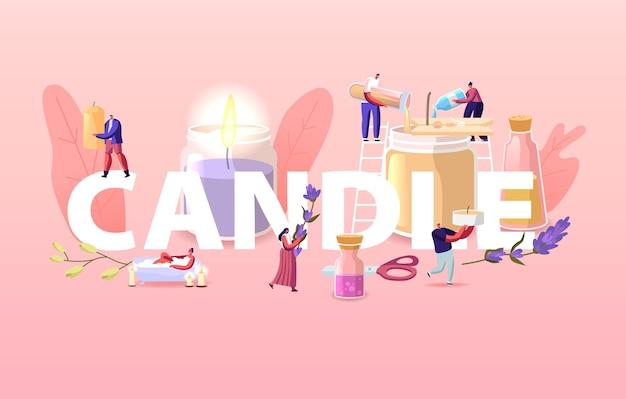 Ilustración de personas que hacen y usan velas en casa