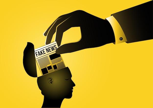Una ilustración de personas que leen noticias falsas sobre fondo amarillo