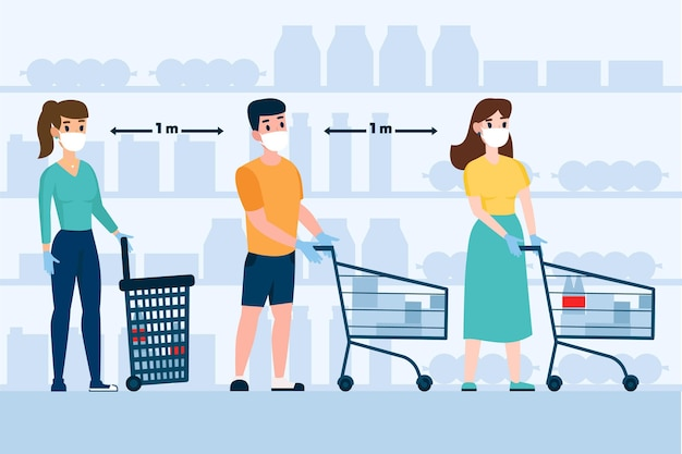 Ilustración de personas que se quedan en una cola en el supermercado