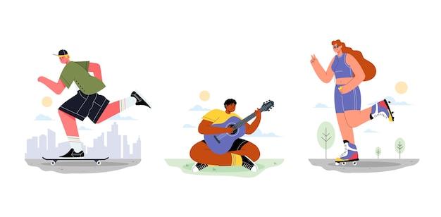 Ilustración de personas que realizan actividades al aire libre.
