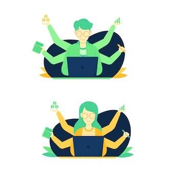 Ilustración de personas que realizan trabajos multitarea