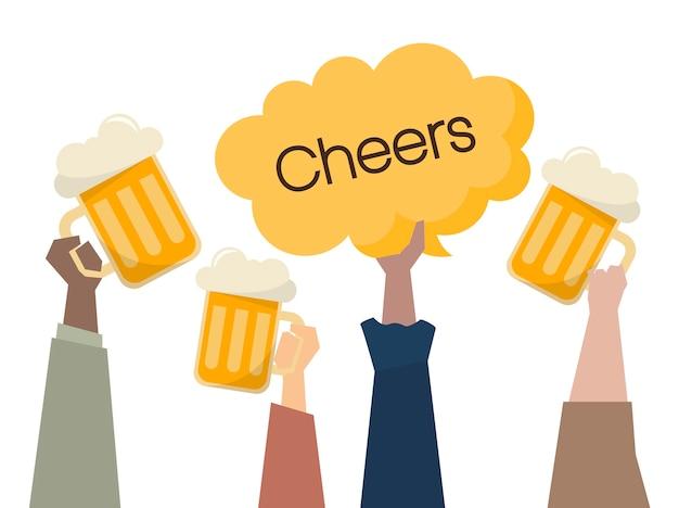 Ilustración de personas que tienen cervezas