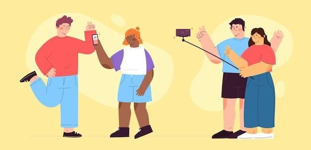 Ilustración de personas que toman fotos con teléfonos inteligentes.