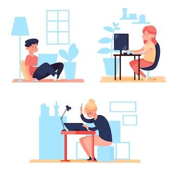 Ilustración de personas que trabajan de forma remota.