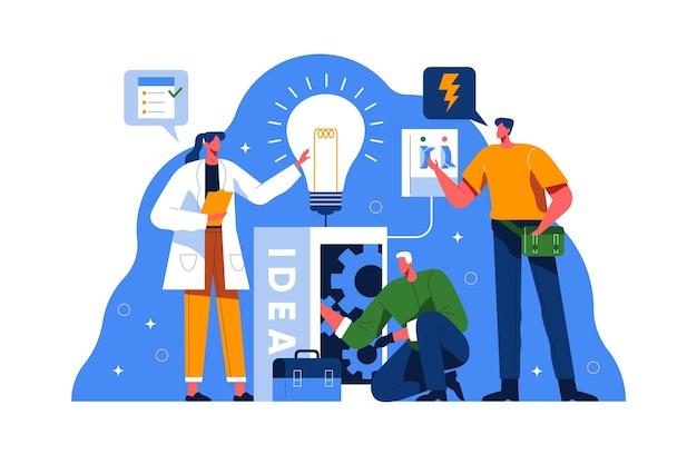Ilustración de personas que trabajan juntas.