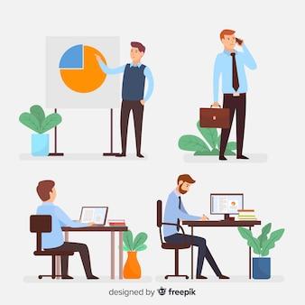 Ilustración de personas que trabajan en oficina